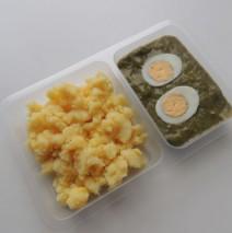 Špenát s vejcem, brambory